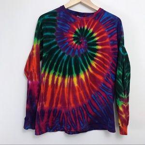 Rainbow Tie Dye Psychedelic Long Sleeve Crew Neck